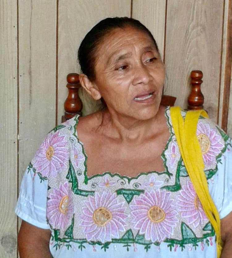 Lupita's mother. Left: Family house in Cobá.