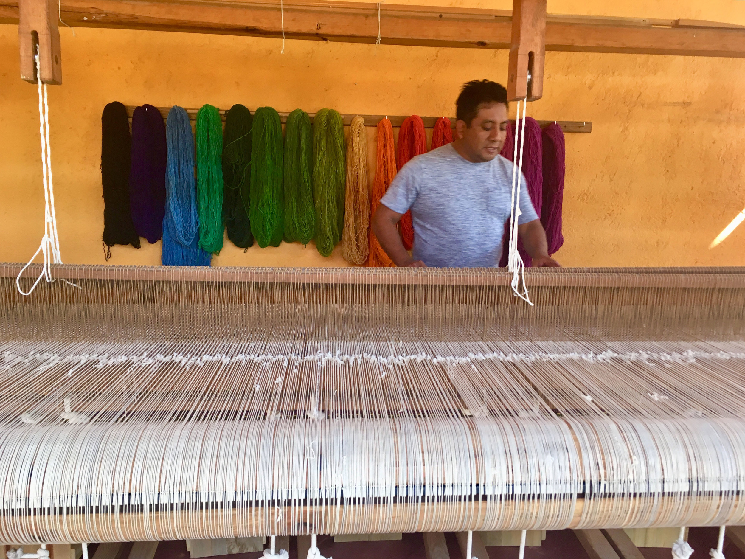 Nelson weaving on a foot pedal loom.