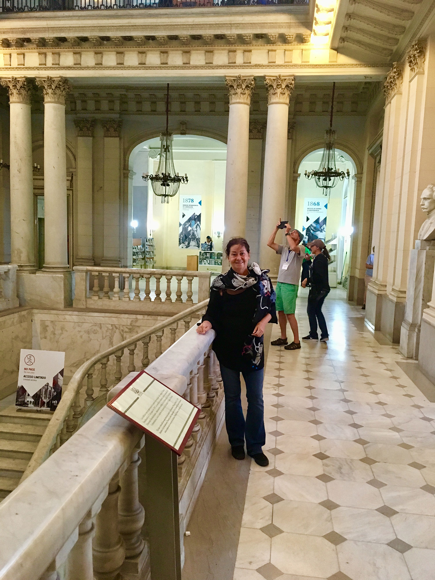 I am posing at the central staircase, the focus of the palace.