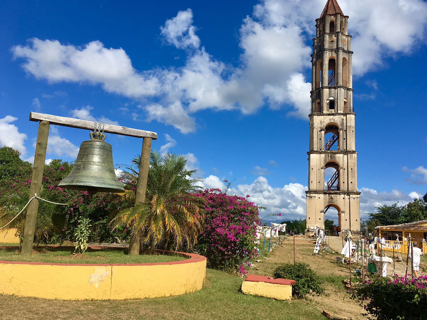 The tower and the bell, once used on top of the tower.