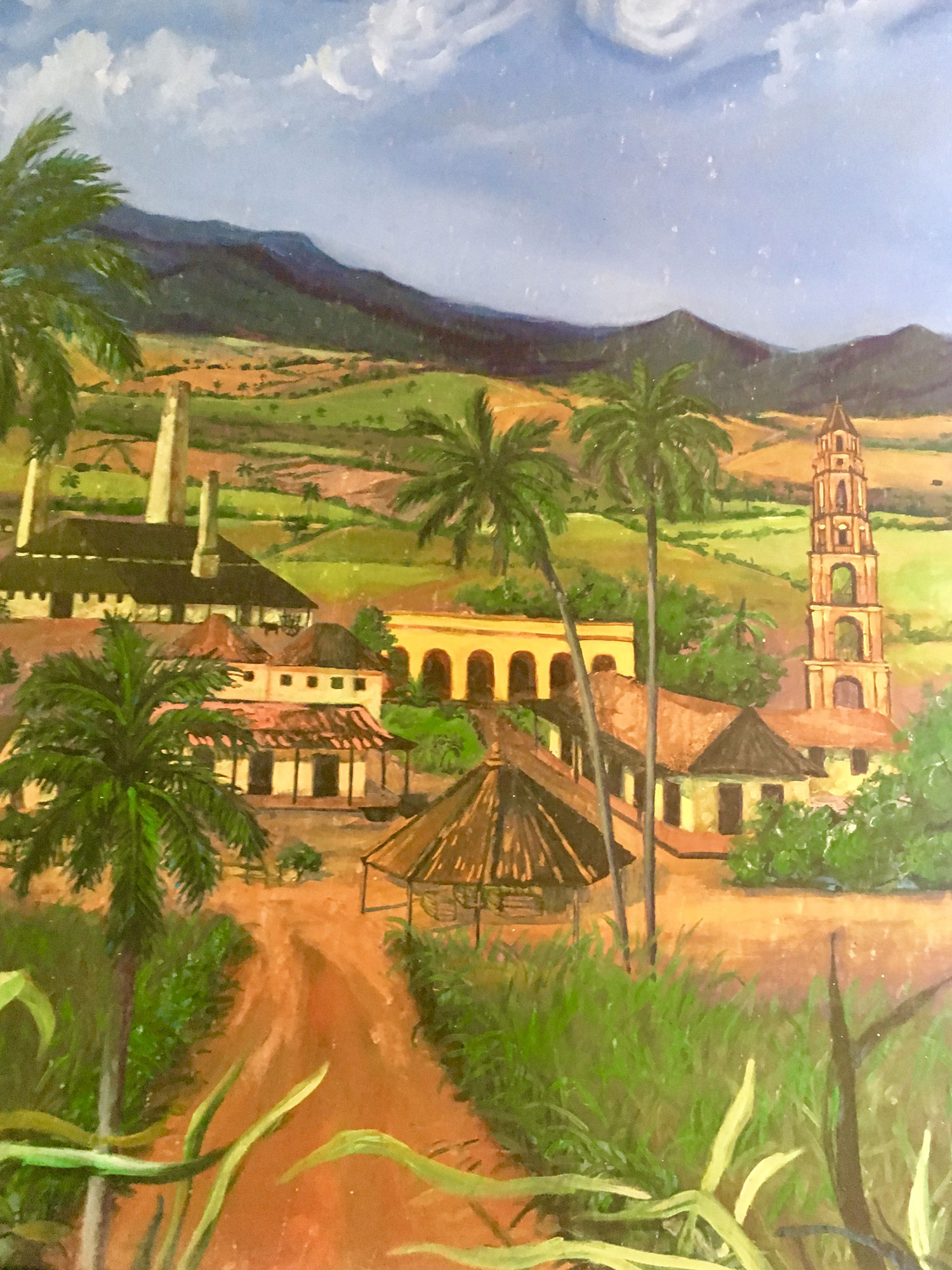 A painting of the hacienda, from the hacienda.