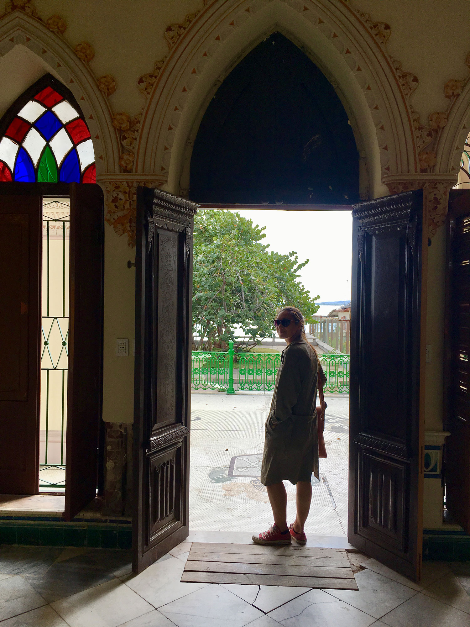 My co-traveller Daniela at one of the entry doors.