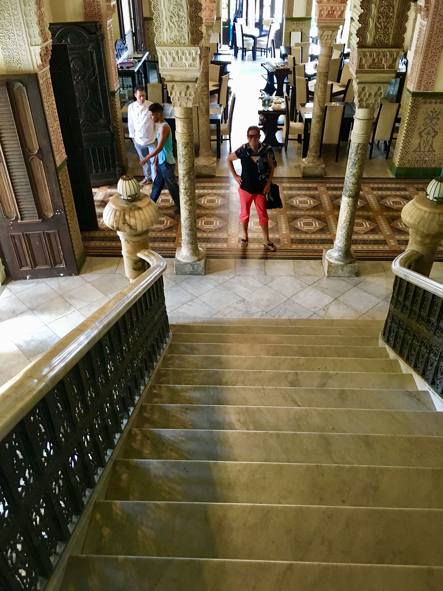 The main staircase of the house. The dining room is behind me.