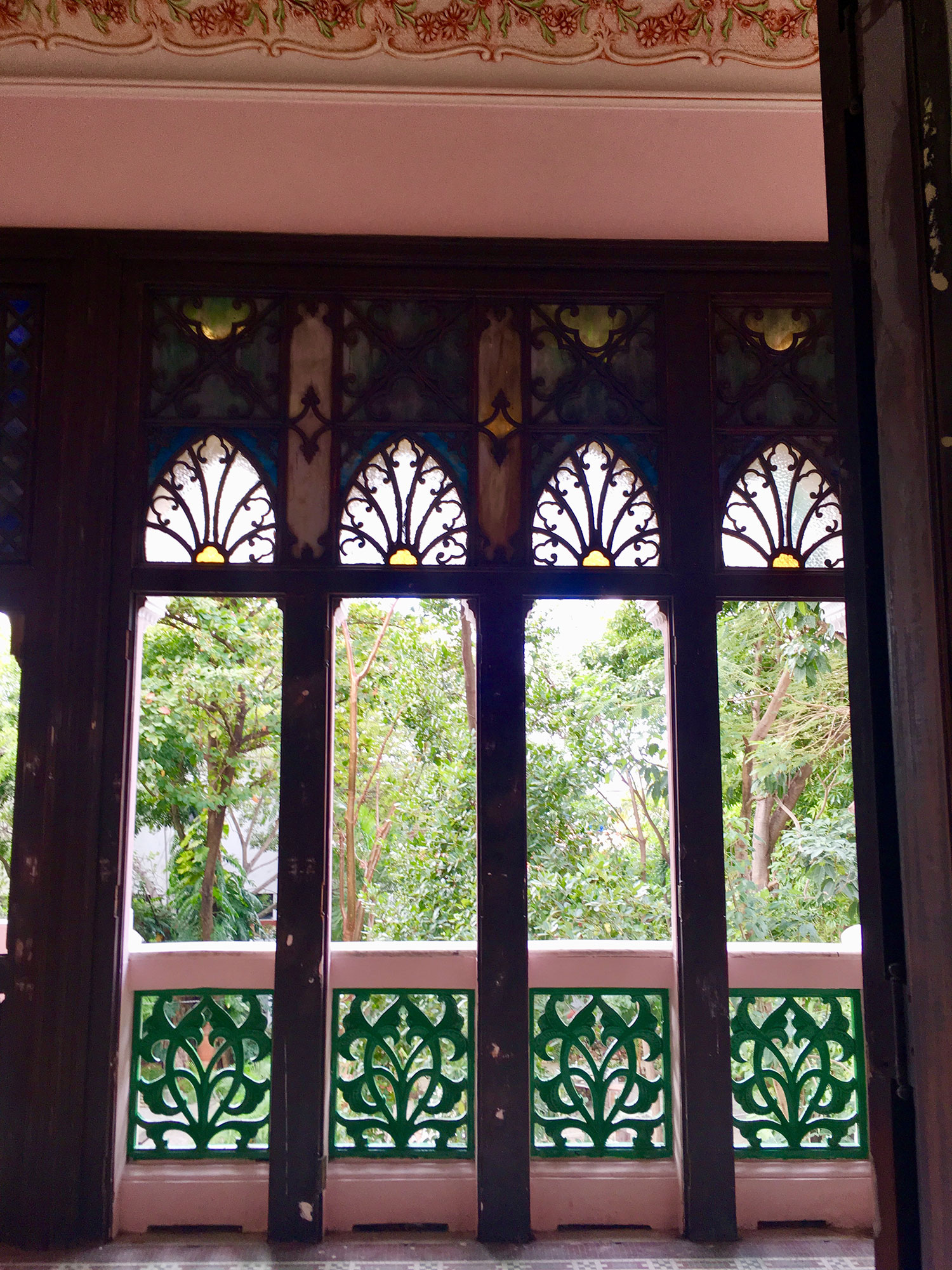 A green view from the Moorish window.