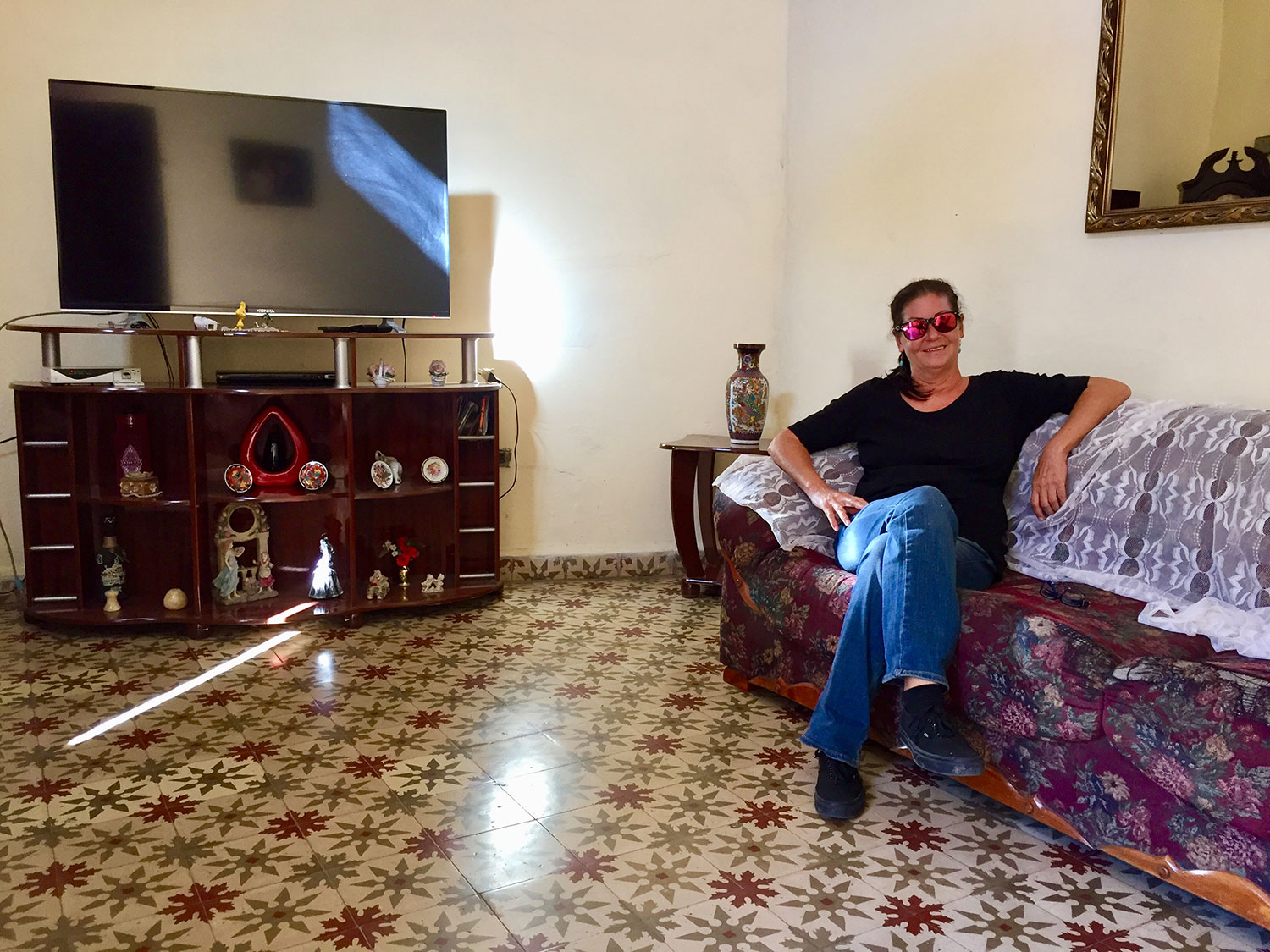 This  casa particular  in an old house in Havana had a nice living room. The bedrooms, however, had no windows.