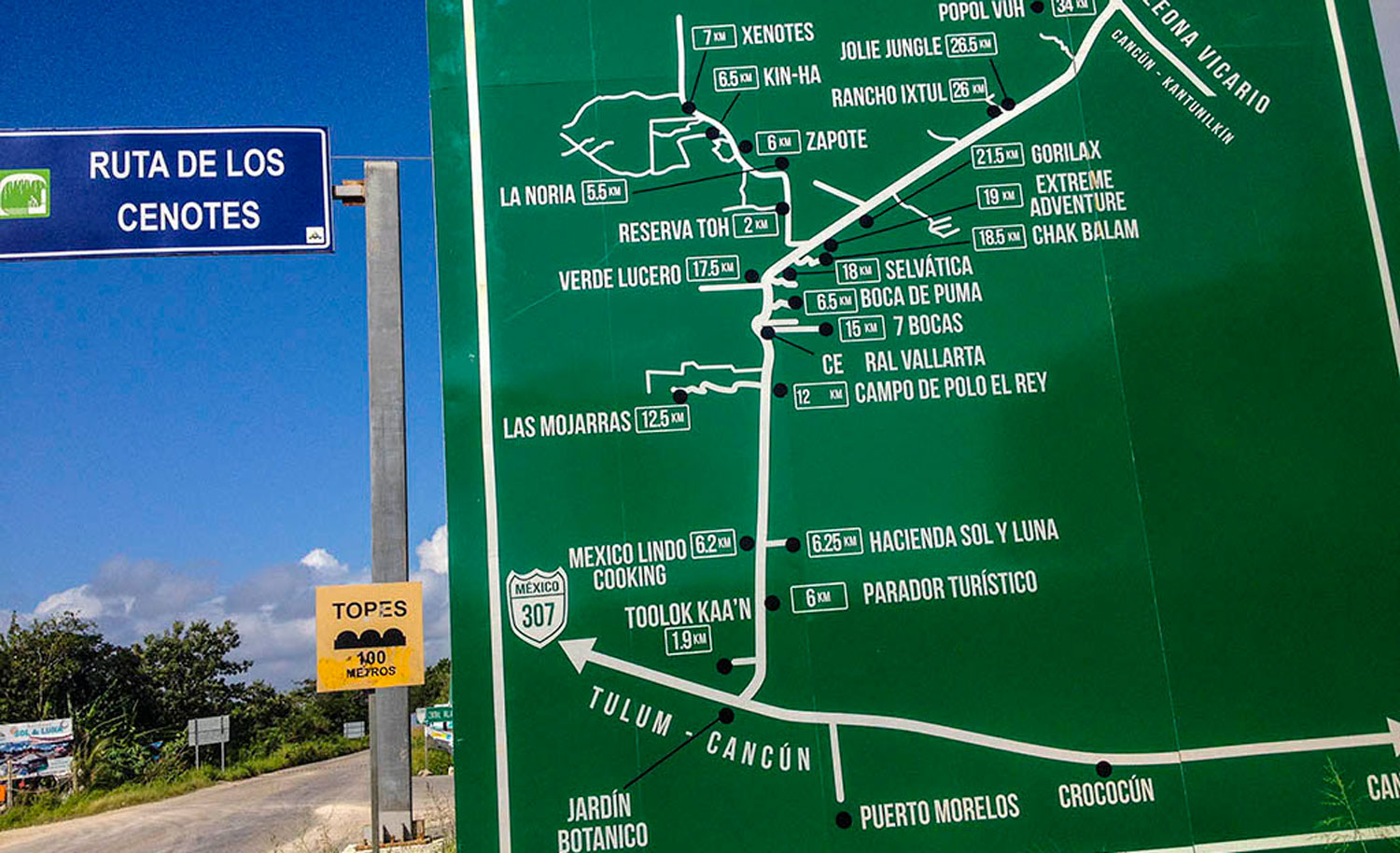 The map of the Cenote Route at Puerto Morelos.