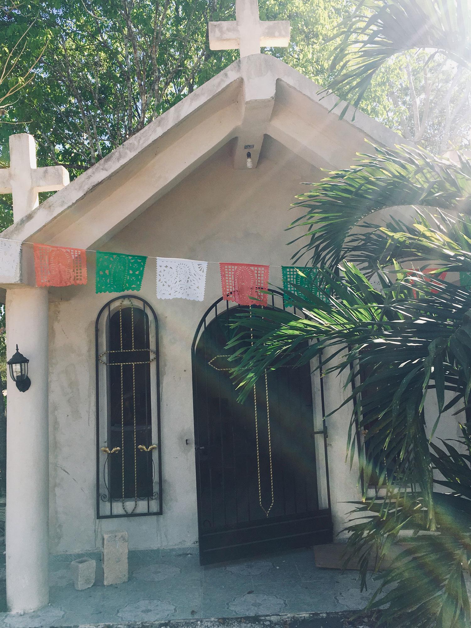 The church at Punta Laguna serving Campamento Hidalgo village.