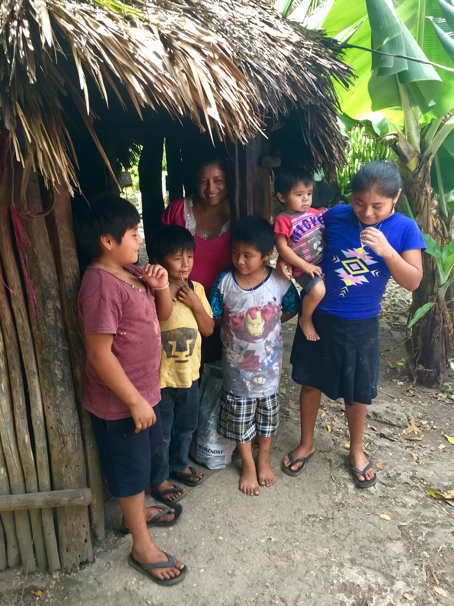 One of the families in Chunyaxché village.
