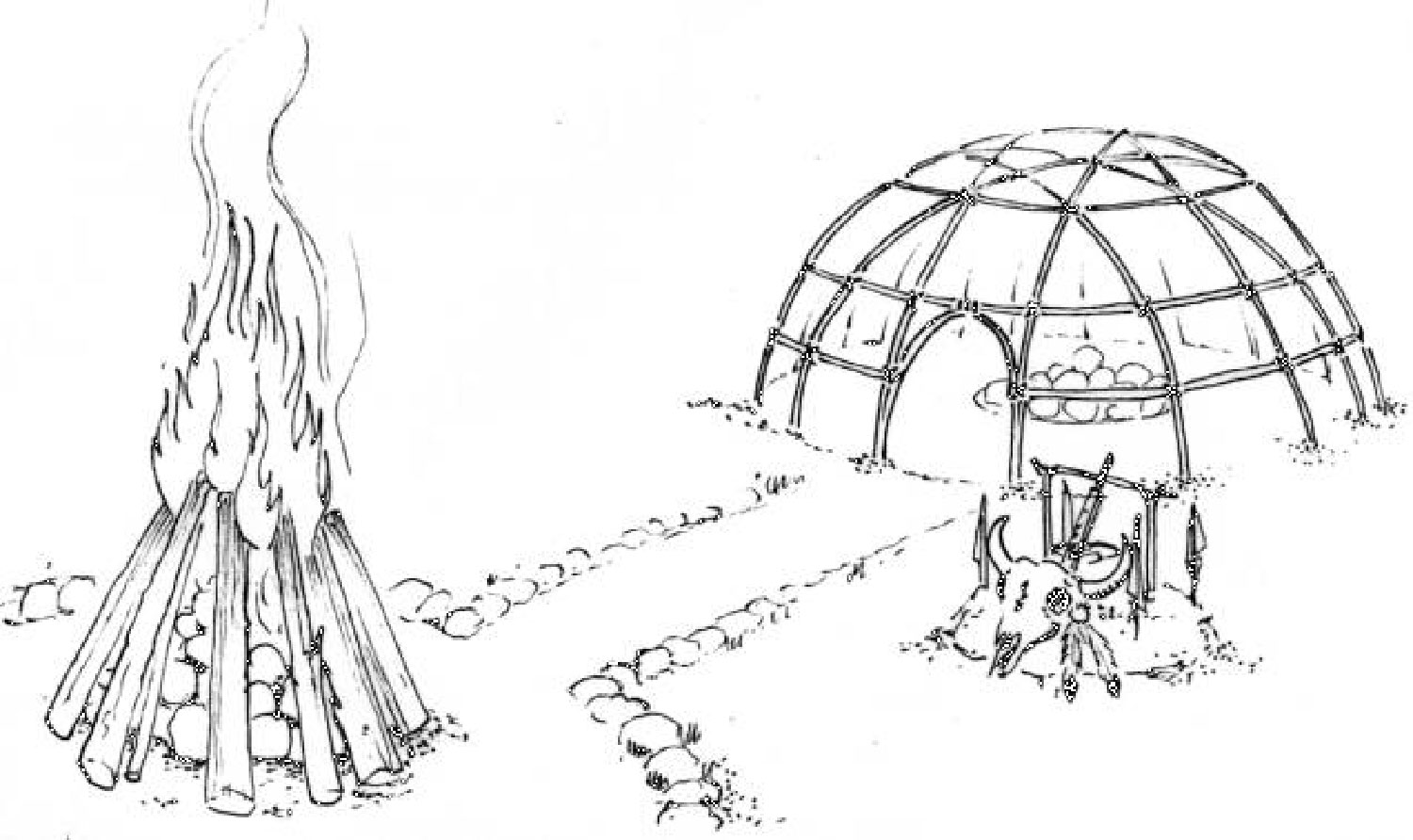 Temazcal drawing:  commons.wikimedia.org .