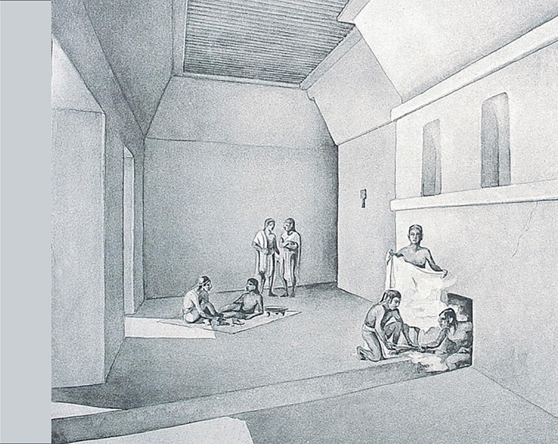Steam bath in Piedras Negras by Tatiana Proskouriakoff:  arqueologiamexicana.mx .