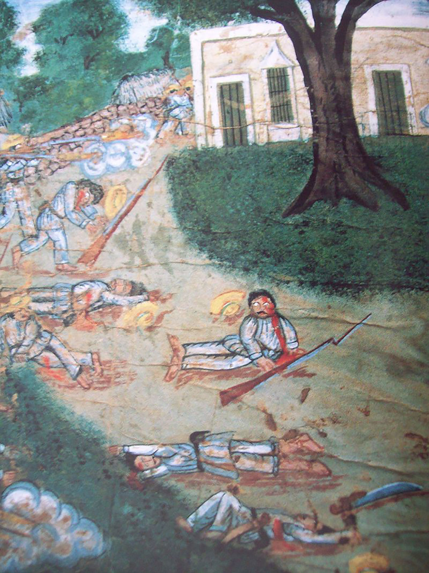 Oil painting of the Caste War, circa 1850:  wikipedia.org .