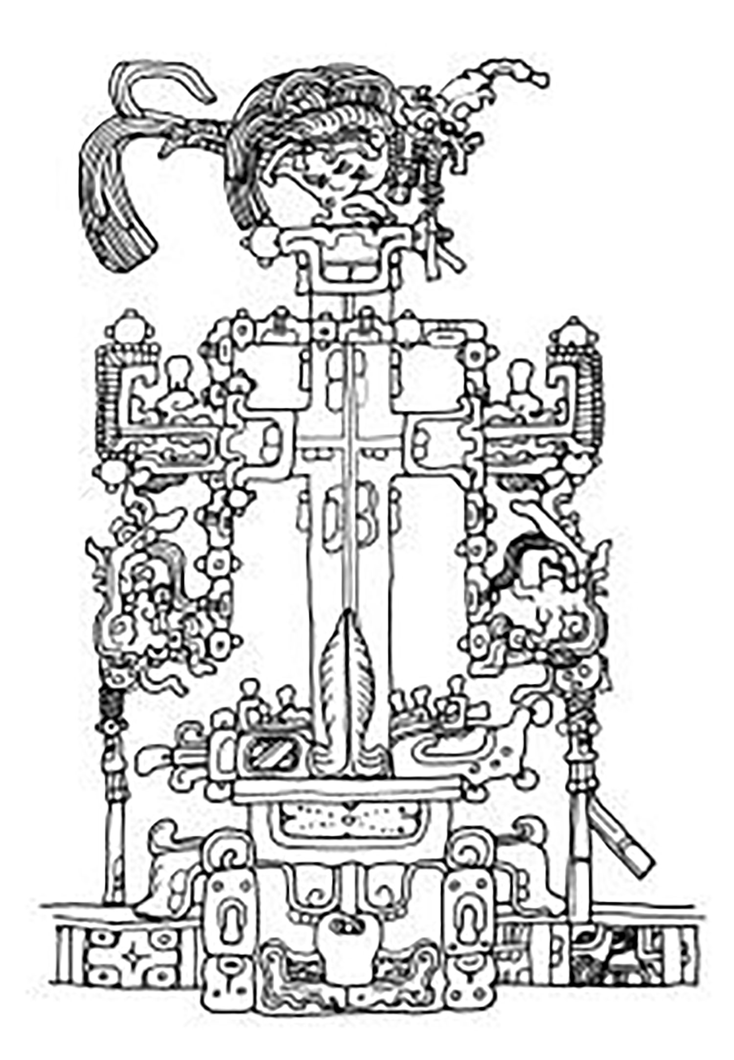 The Maya World Cross, drawing by Linda Schele, from the Temple of the Foliated Cross, Palenque:  research.famsi.org .
