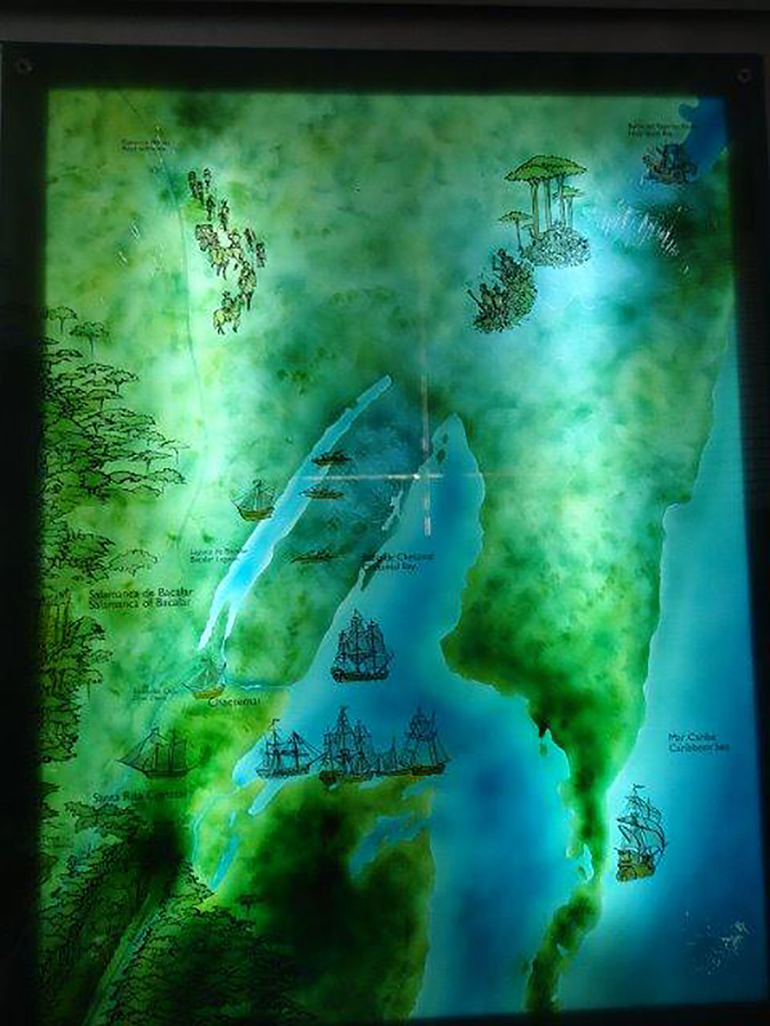 Spanish or pirate boats in Chetumal Bay and Bacalar lake, as shown on the museum map.