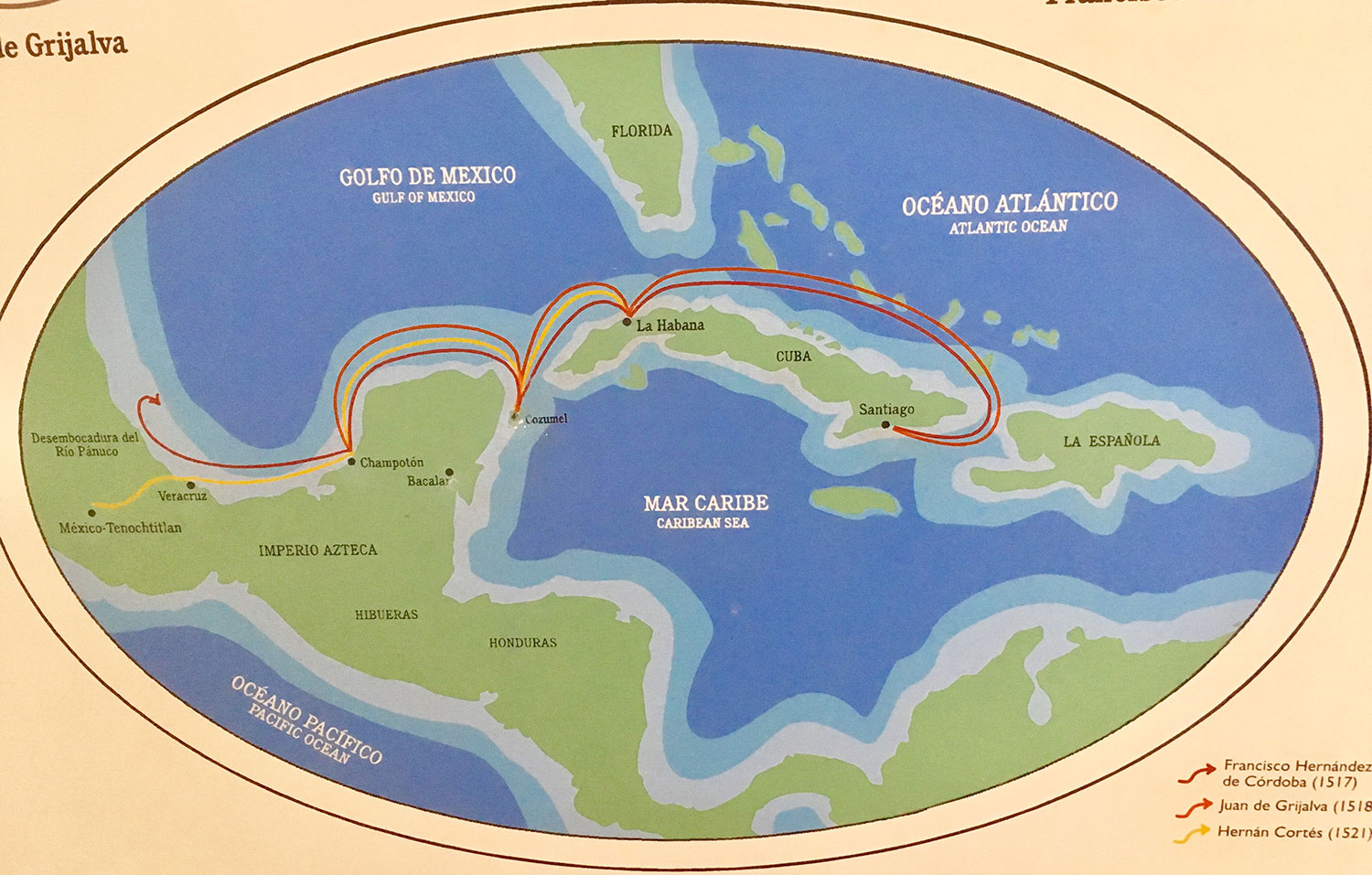 Routes of the first Spanish expeditions, as drawn on the Museum maps.