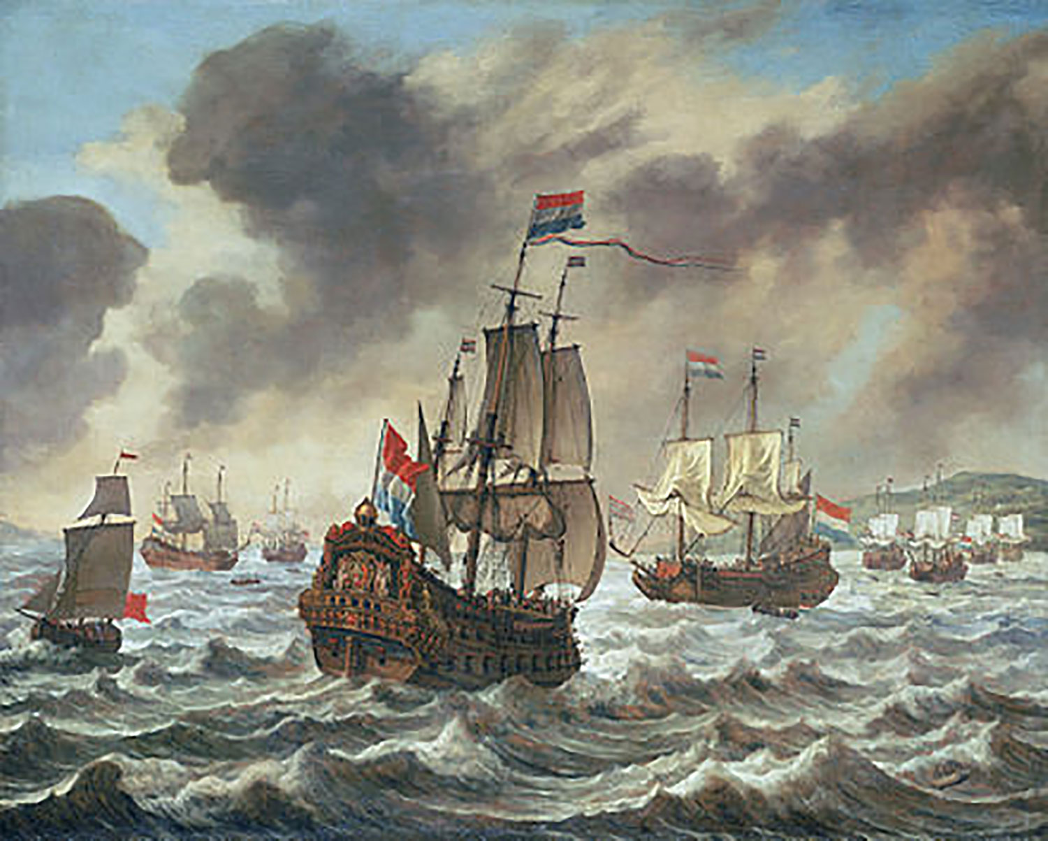 The ship of Corneli Jol: 'Before the  Battle of the Downs ' by  Reinier Nooms , ca. 1639.