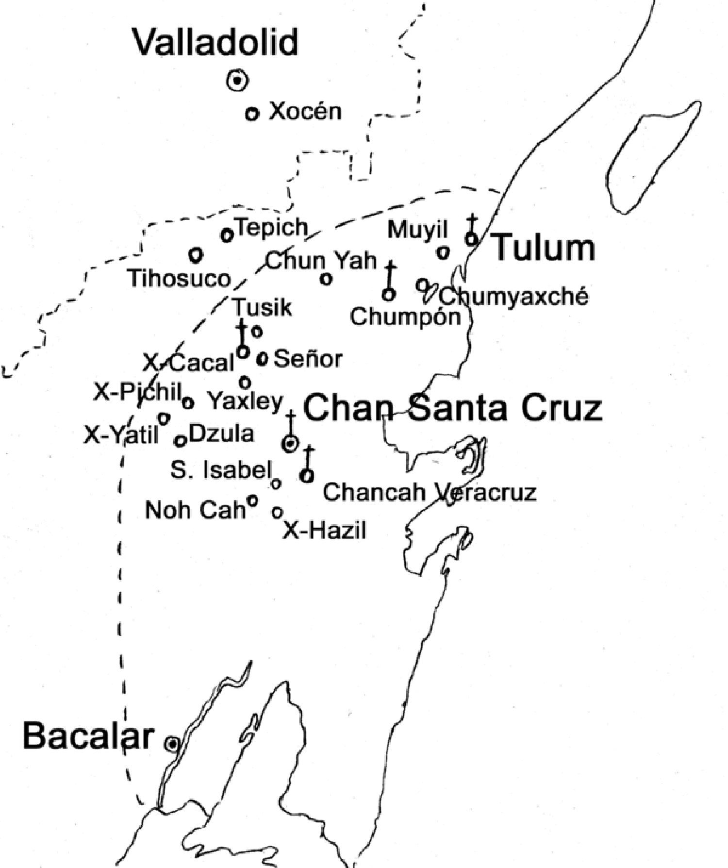 Caste War sites, 1870. Source:  wikipedia.org .
