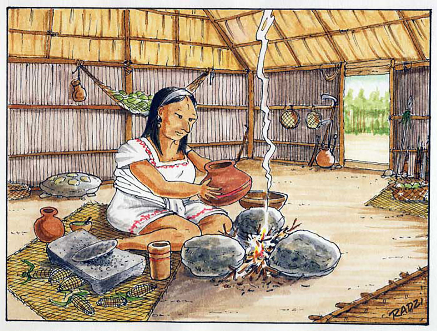 A Maya woman prepares to heat a drink over a fire guarded by three hearthstones; notice  metate , the grinding stone beside her.
