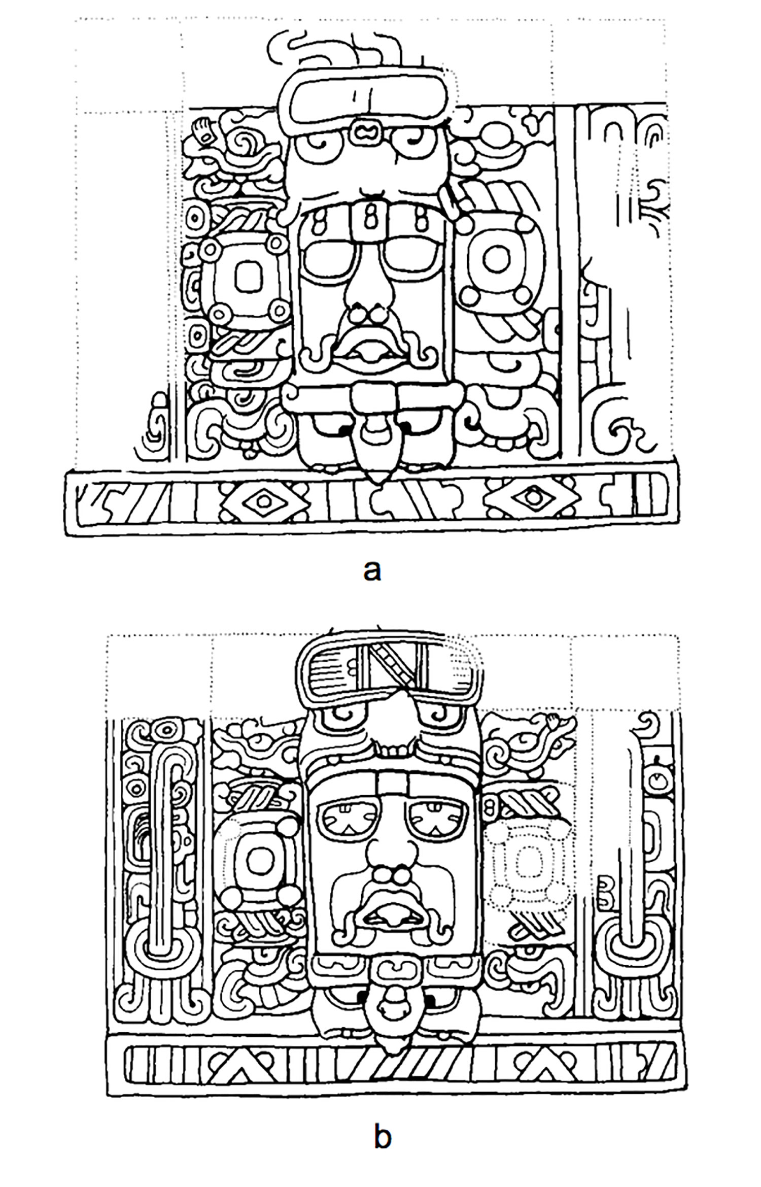 Kohunlich panels depicting Sun Gods wearing a skeletal fire headdress. Note smoke emanating from upper example (from Dumbarton Oaks library).