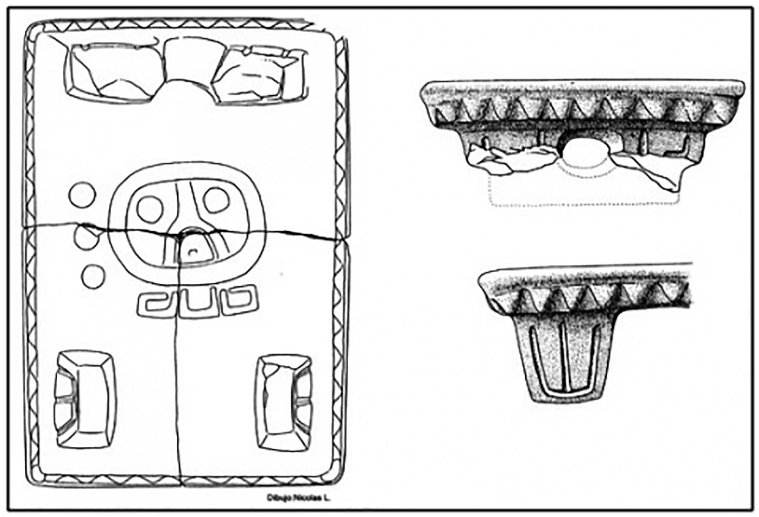 Borken metate with glyphs, 869AD. Drawing by Nicolas Latsanopoulos, 1999.