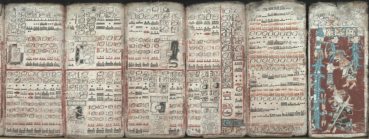 Dresden Codex, depicting eclipses, multiplication tables and the flood:  commons.wikimedia.org .