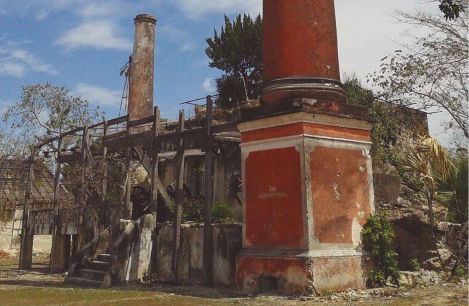 The state of the hacienda before the purchase by the current owner.