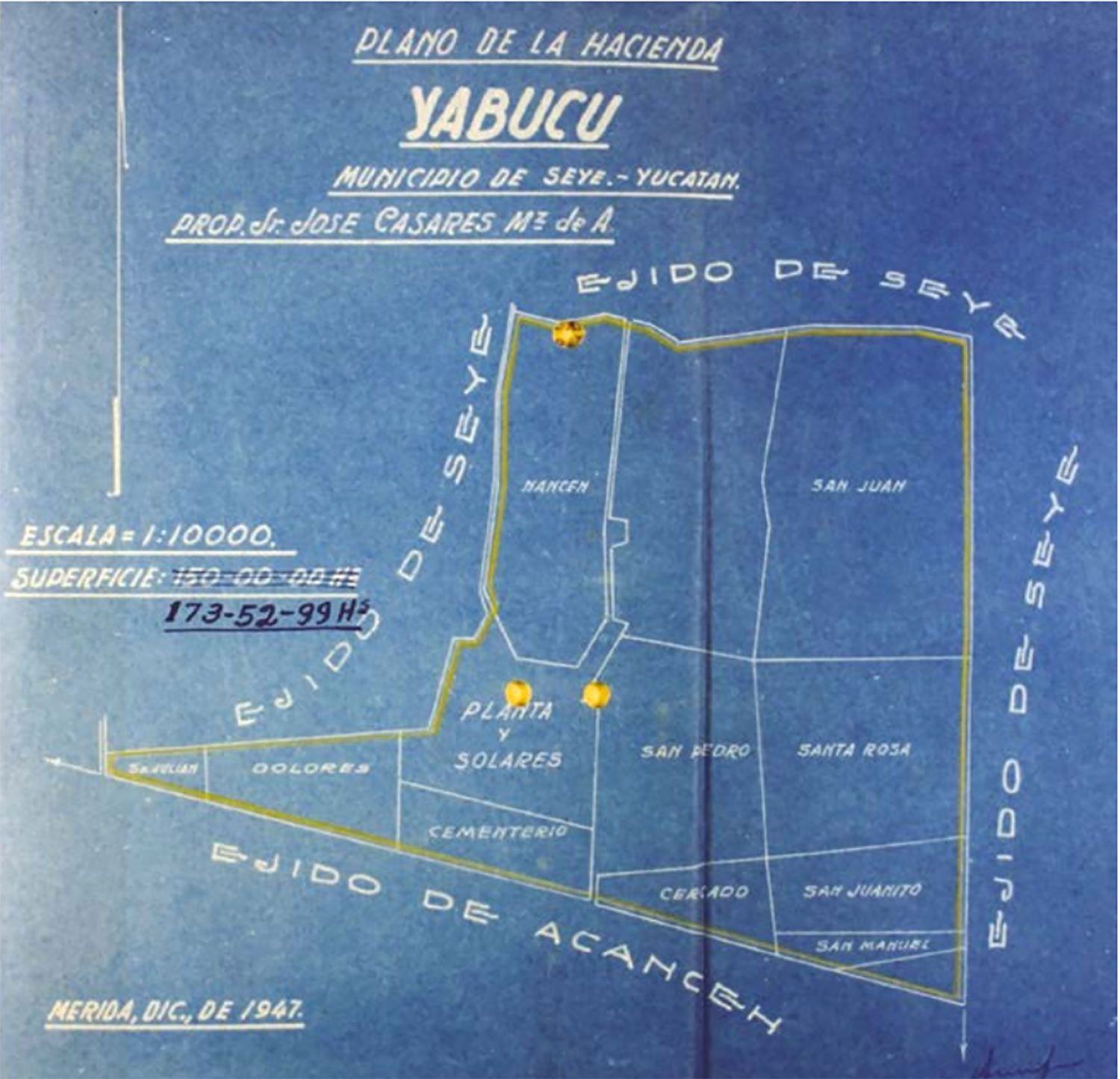 Yabucú plan from 1947. Source:  yabucu.mx .