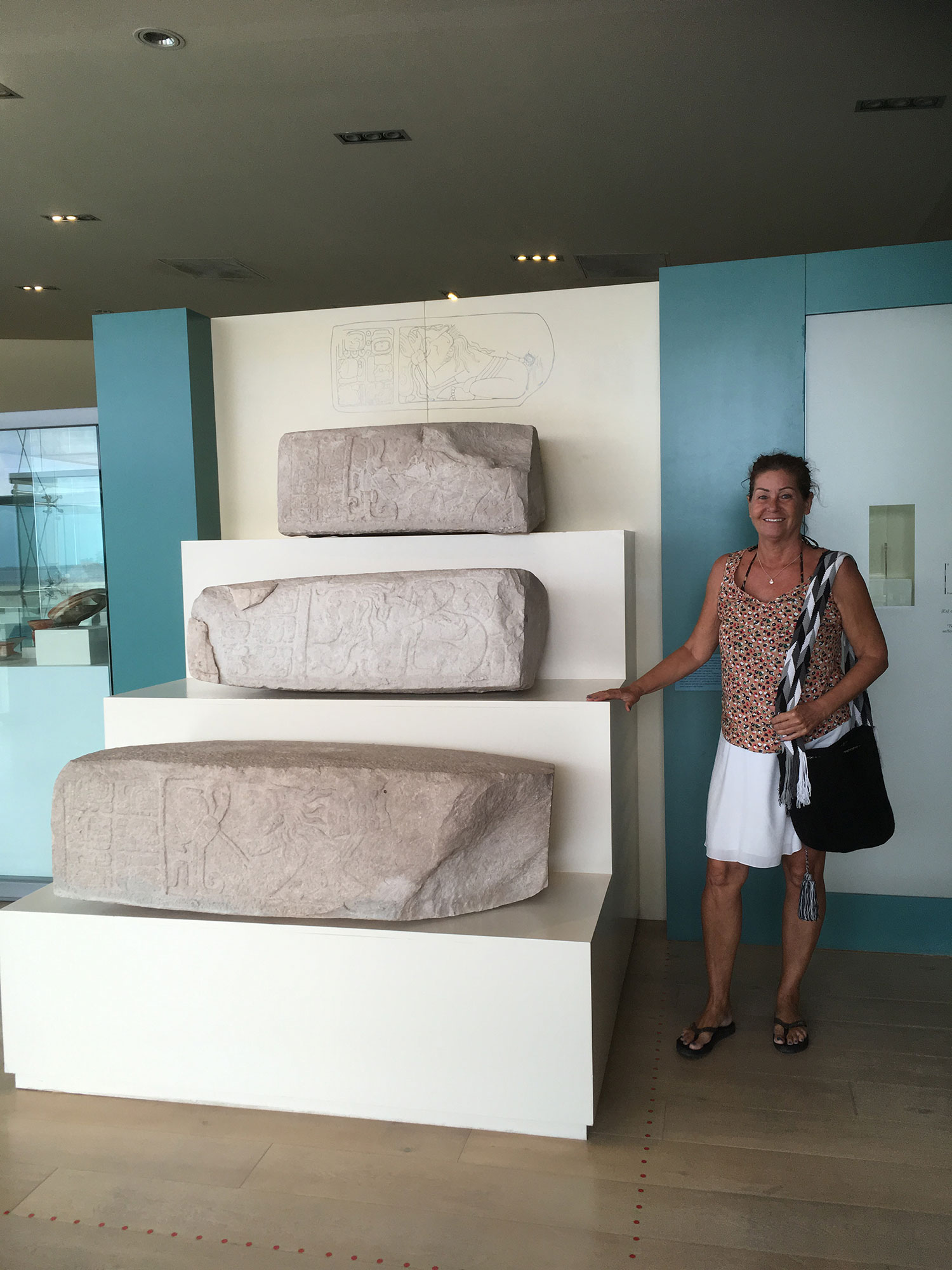 In Cancún museum with the captive steps from Dzibanché.