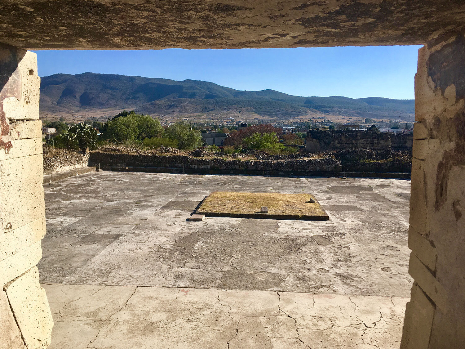 The view from the Palace of the Columns. Note the altar in the yard.