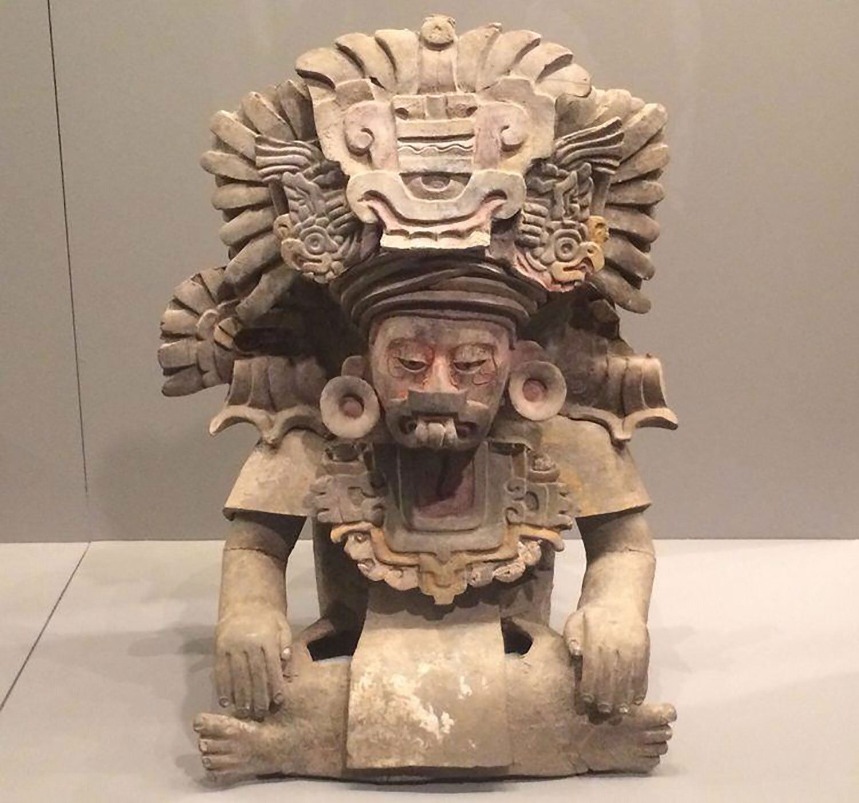 Zapotec priest, 250-600AD, Oaxaca. His necklace represents a maize field, a symbol of fertility:  ancient.eu .