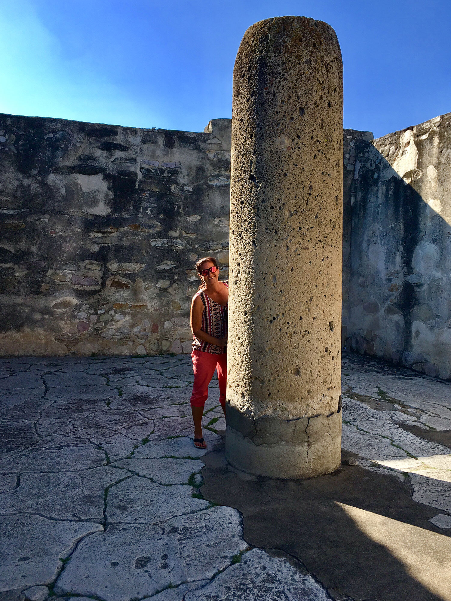 I am hugging a monolithic column at the Hall of the Columns.