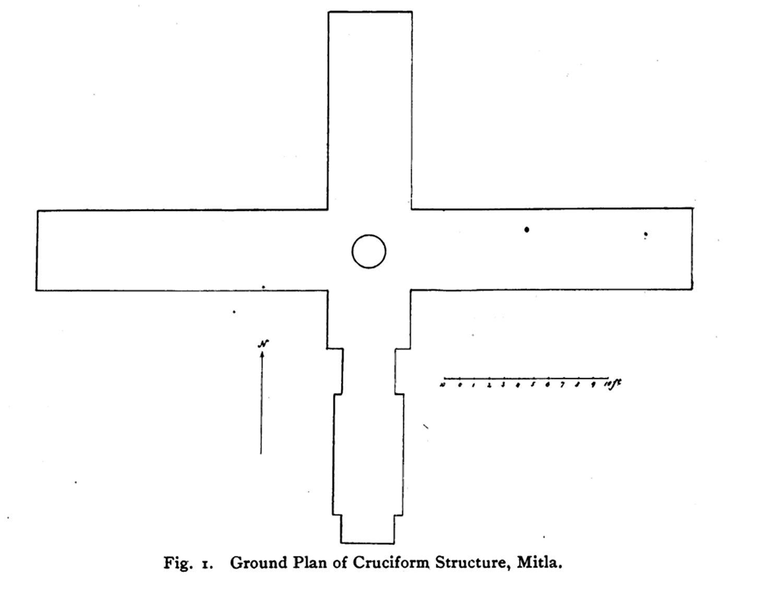 Cruciform plan at Mitla:  digitallibrary.amnh.org .