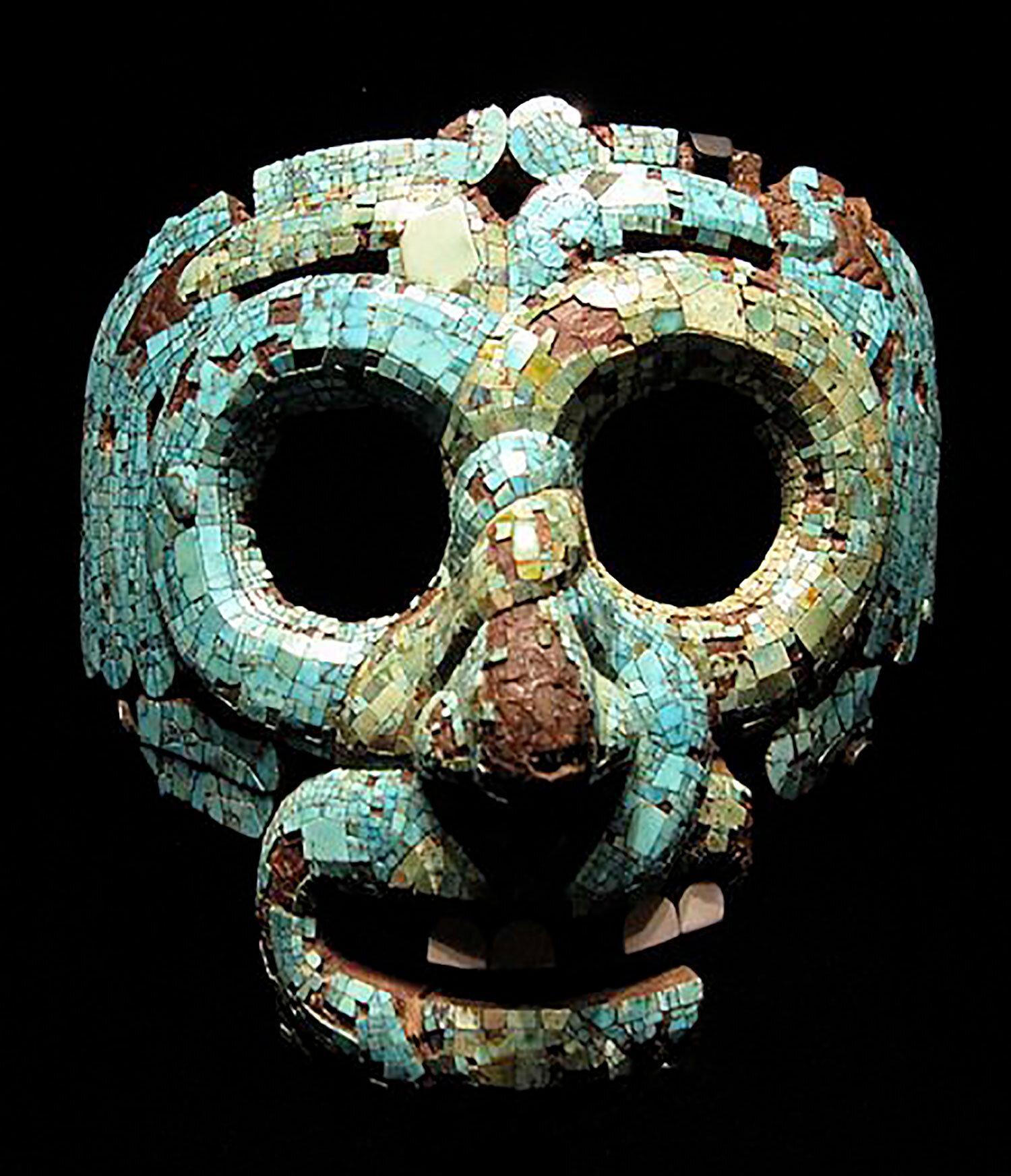 Turquoise mosaic mask. Mixtec, 1400-1521 AD:  en.wikipedia.org .