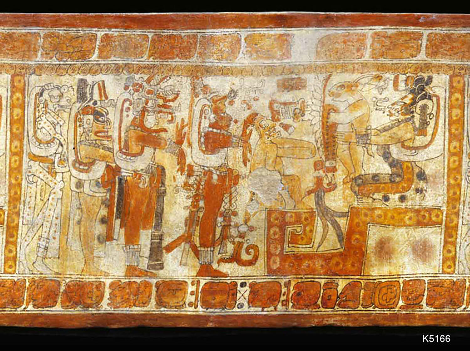 The motif is from vase 5166, photo by J. Kerr. People are clearly going up the hill (the step-fret):  research.mayavase .