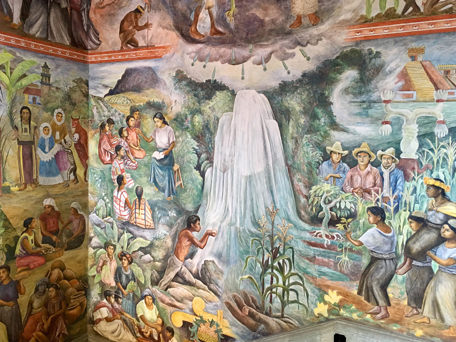 From the same mural, Hierve el Agua water springs used for irrigation of the valley.