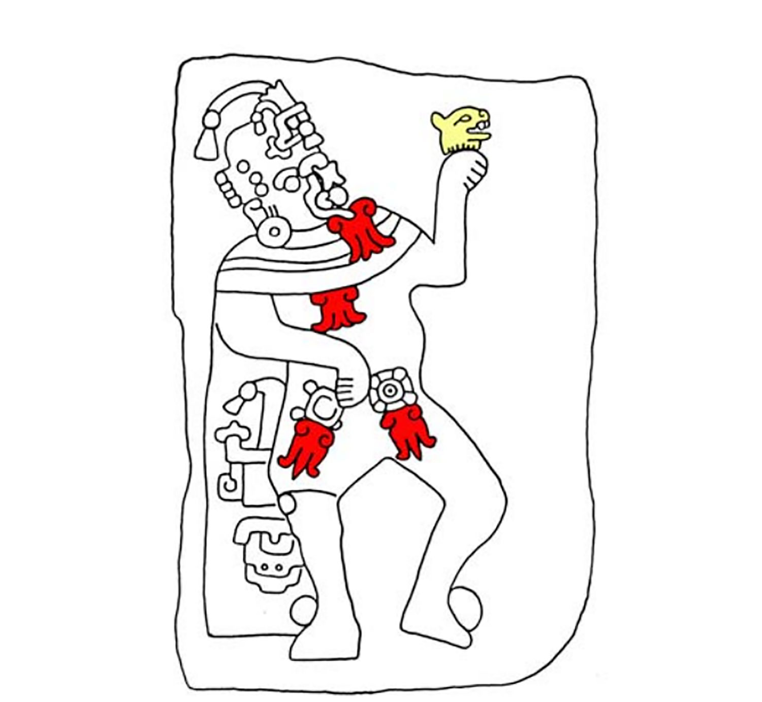 The Storm God impersonator (priest or ruler) holding a decapitated head. Blood drips from the mouth onto his torso:  famsi.org .