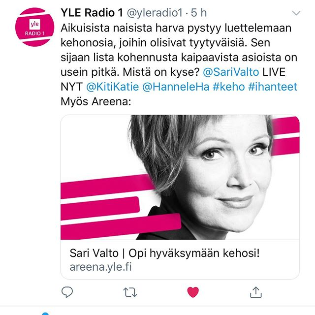 OPI HYVÄKSYMÄÄN KEHOSI - YLE haastattelu Sari Valton ja Hannele Harjusen kanssa kuunneltavissa nyt YLE Areenassa!  #rakaskeho #kehonkuva #kehosuhde #keho #kauneusihanteet