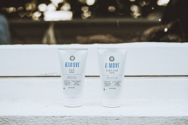 Kimovi Gel with salt (a gel you apply at night before you go to bed) and Cream with salt (a moisturising cream you apply in the morning). Photo b y  Kitty Wheeler Shaw