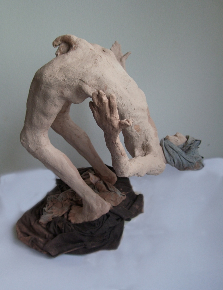 "Bend over Backwards 16"" high clay and cloth"