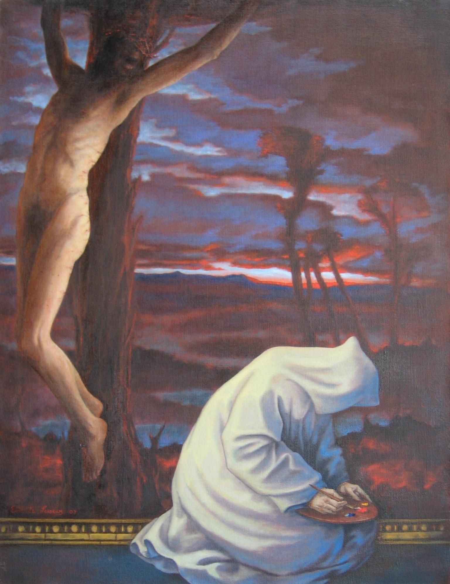 "Artist and Christ 39 x 30"" 2003"