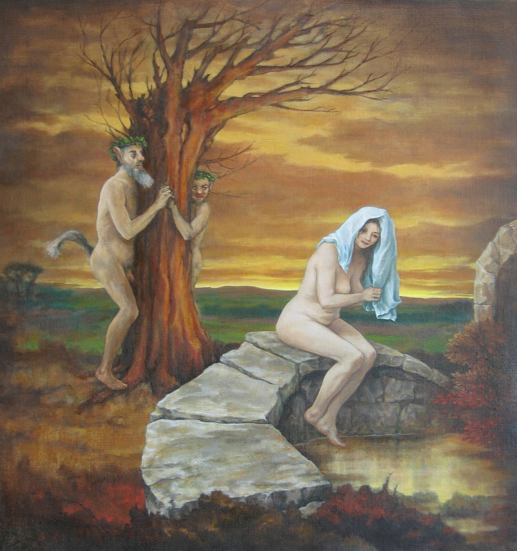 """Nymph and Satyrs 31 x 33"""" 2003"""