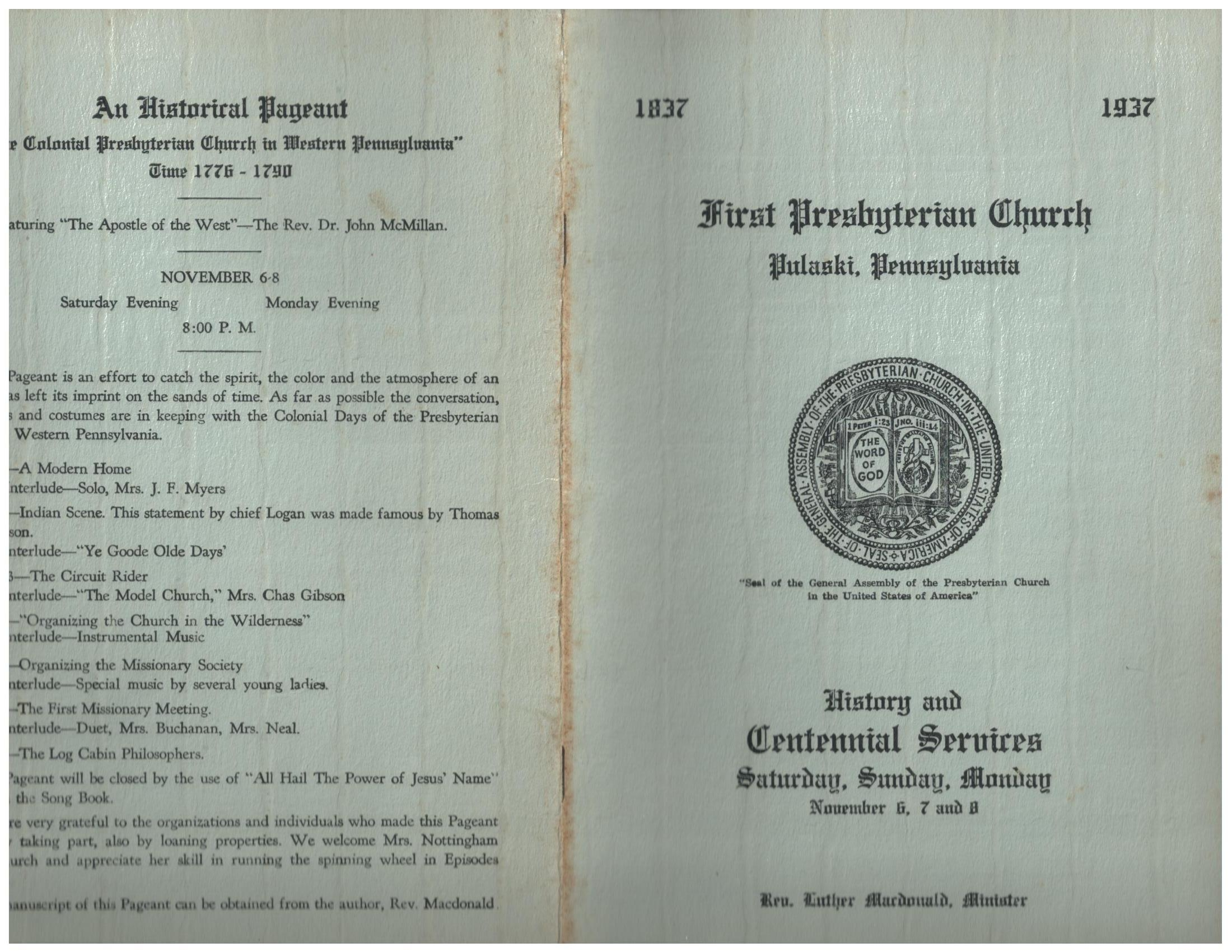 Pulaski Presbyterian Church Centennial celebration 1837-1937