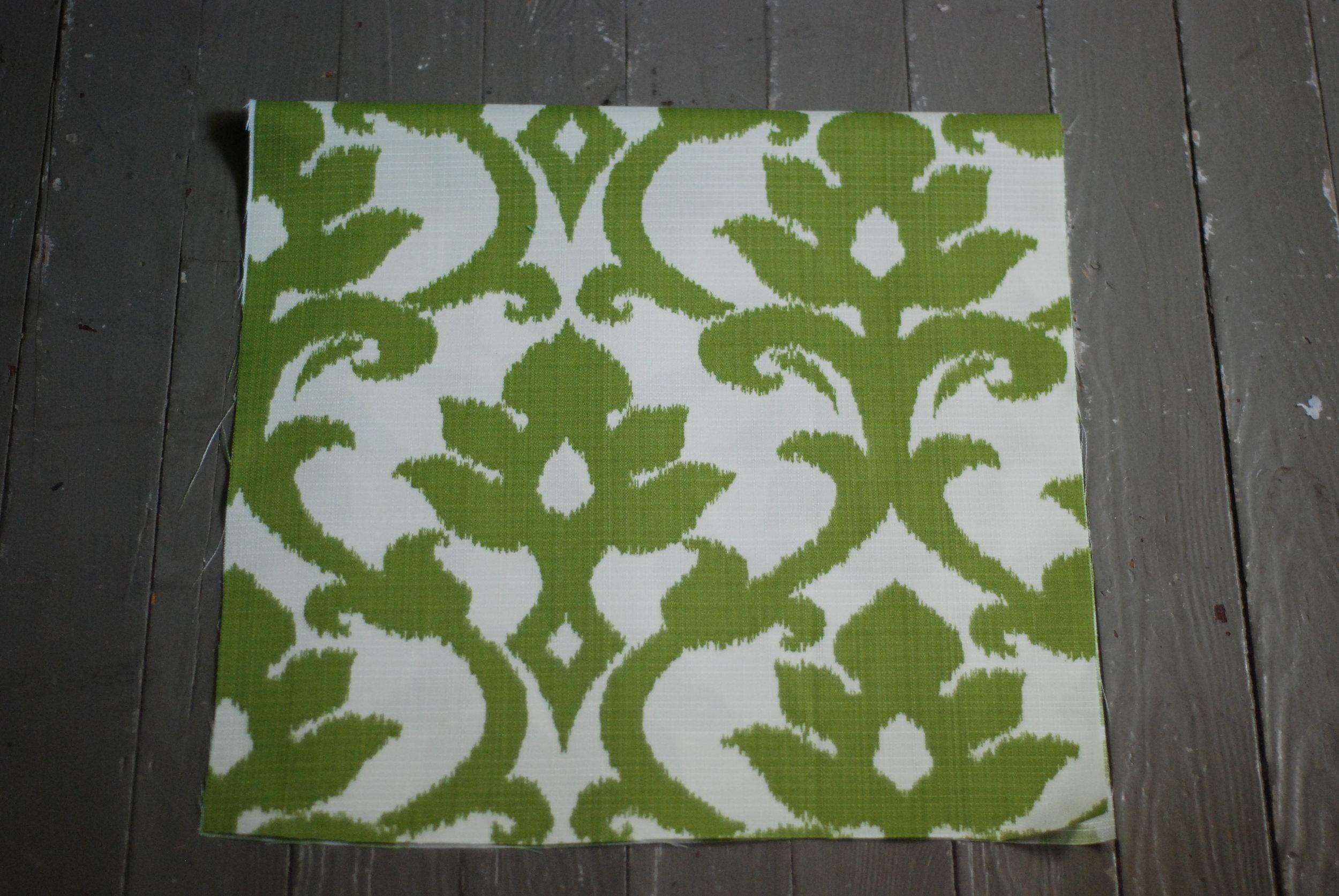 First step, cut fabric on fold.
