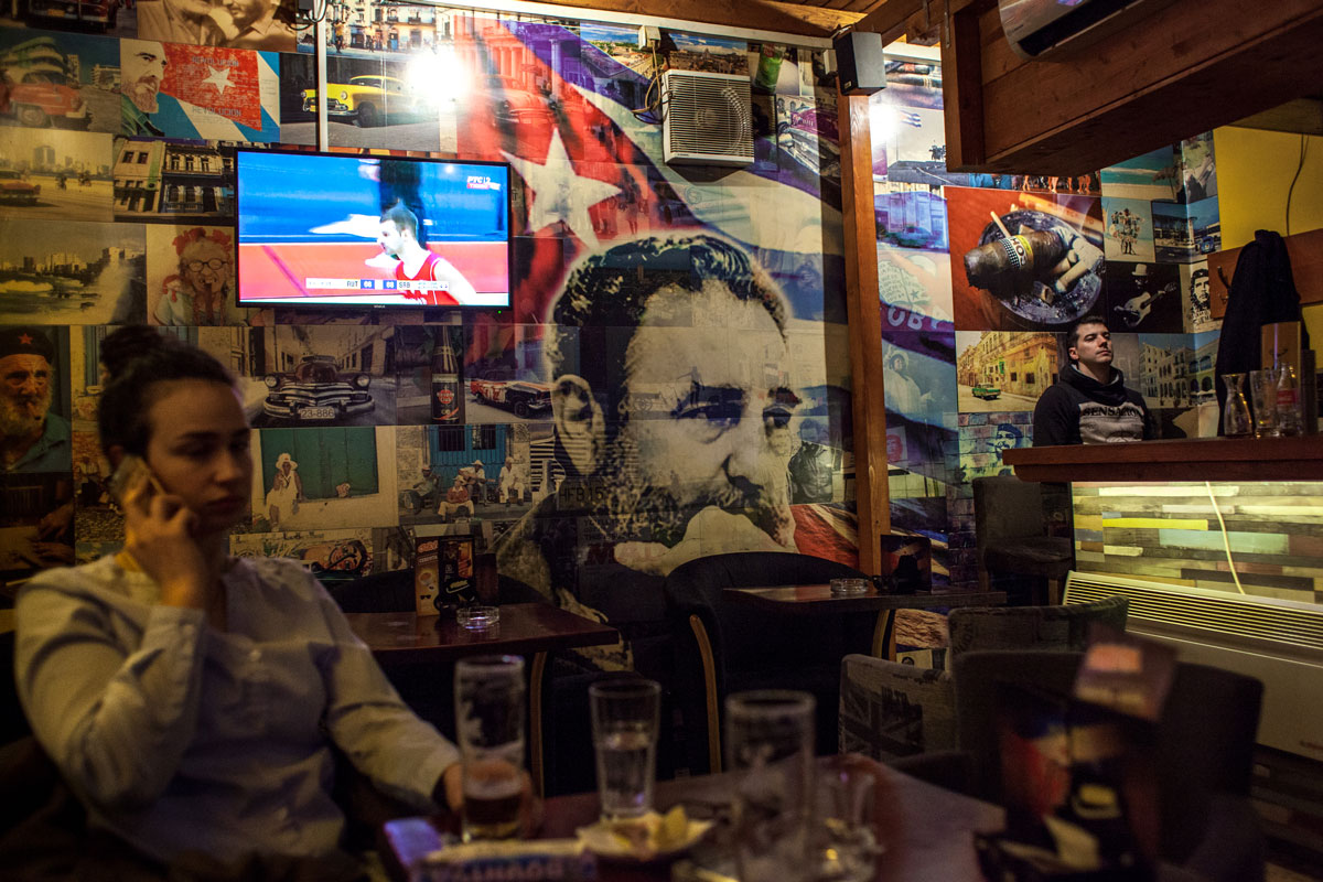 A Cuban-themed cafe in Belgrade, the capital of Serbia, and the former capital of socialist Yugoslavia.  Photograph: Julia Druelle for Point.51