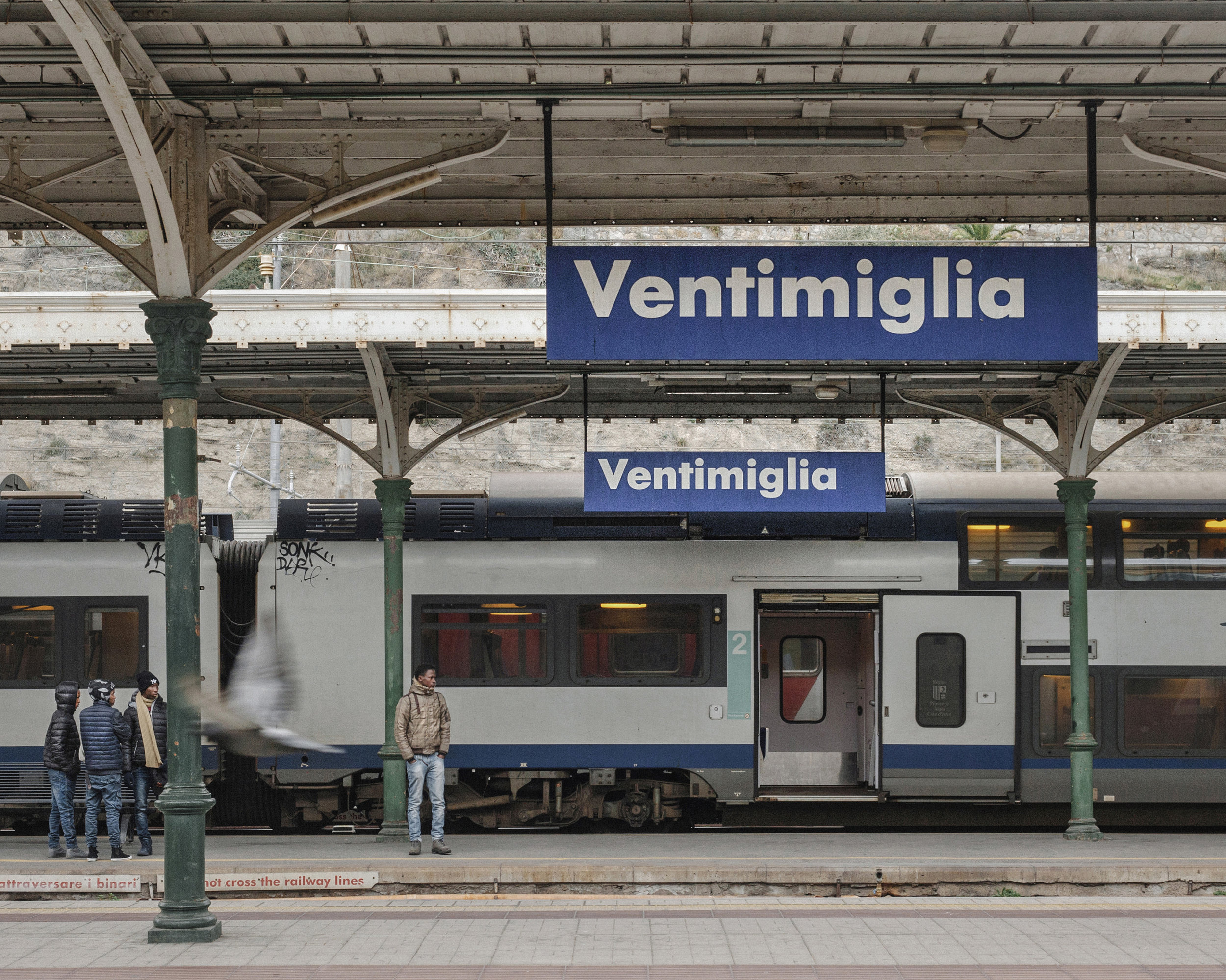 The train stations in Ventimiglia and Menton-Garavan, either side of the French-Italian border.  Photograph: Tjaša Kalkan for Point.51