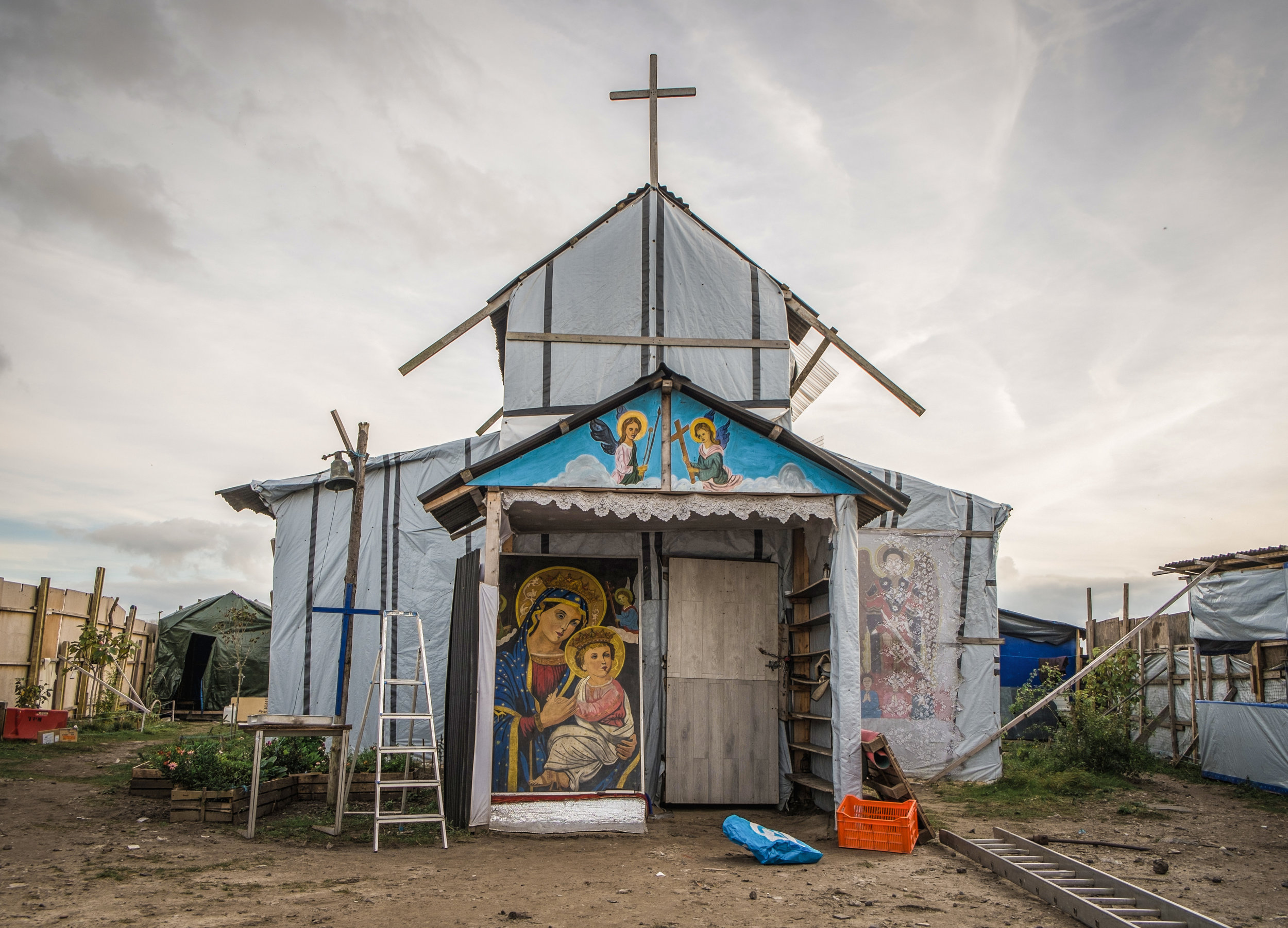 "St. Michael's Church, one of the first and most recognisable structures in the ""Jungle"".  Photograph: Julia Druelle for Point.51"