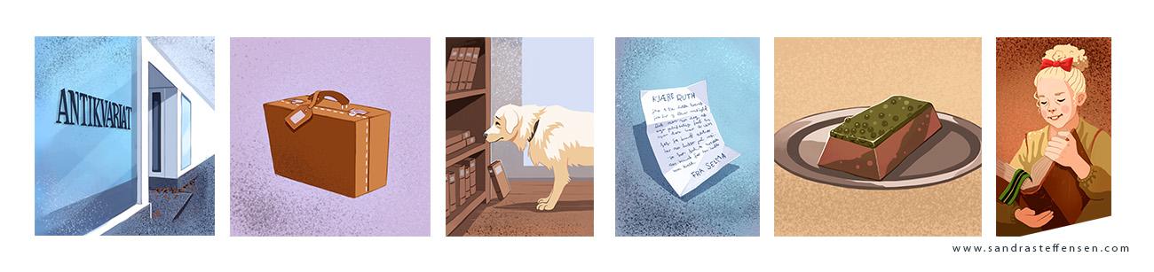 Utdrag av illustrasjoner fra adventskaldener-luker