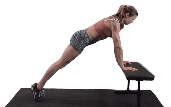 Scaled plank hold: elevate hands, but maintain the same plank body position during your pushup progression.