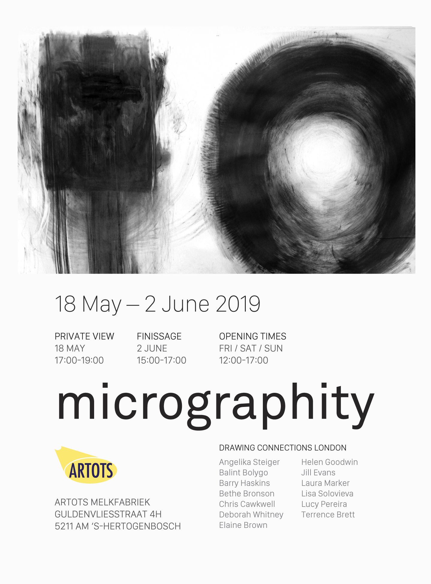 - Exhibition Dates: 18th May - 2nd June 2019Microgravity is the condition in which people or objects appear to be weightless. MICROGRAPHITY – which can be read as an amalgamation of Microgravity and graphite – is a new term (born of an albeit accidental collaboration), which reflects on the collaborative nature of the group, and their resistance to any specific stance on what drawing 'is' or 'could be'. Resonating with the groups position on the periphery of the art market and the accepted gallery system, – preferring a collaborative and supportive philosophy of shared communication and activity that brings about both individual and group development.By confining their activities to drawing in its broadest sense they hope to broaden expectations and understanding of what contemporary drawing can be and offer a platform for collaborative drawing in its expanded formshttp://www.artots.nl/https://www.facebook.com/events/2211090812309456/