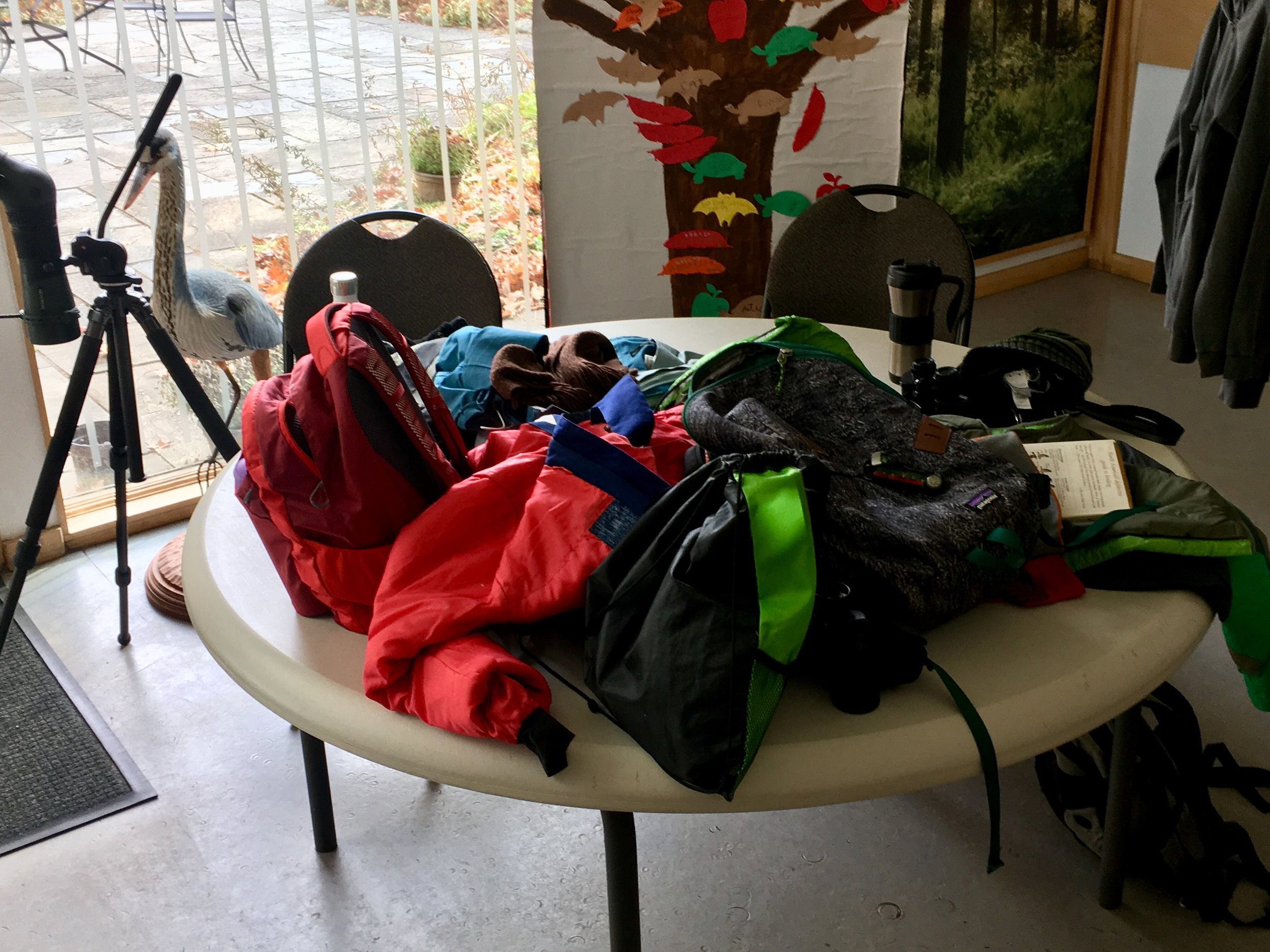 Gear table. At the pond.  Photo by Lena Moser.