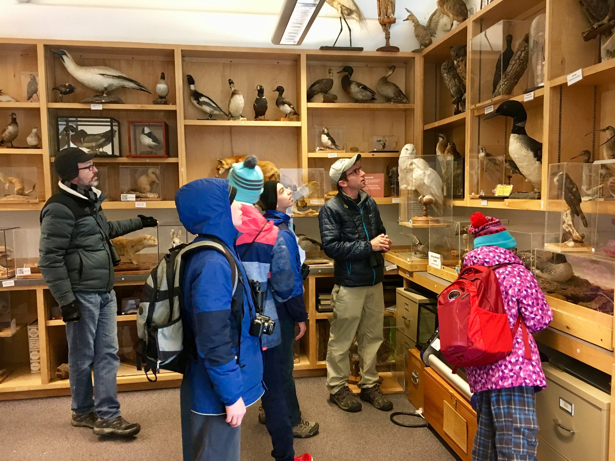 Admiring taxidermy mounts.  At the pond.  Photo by Lena Moser